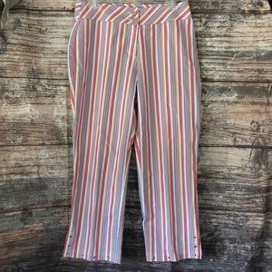 Multiples pink striped cropped pants